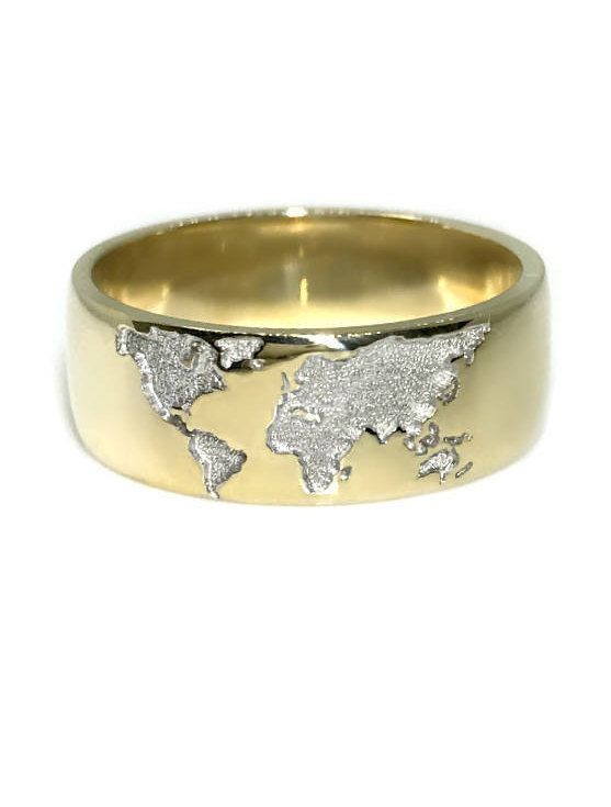 Amazing Our Newest Model   Gold Ring With World Map. Perfect Present For Those Who  Like