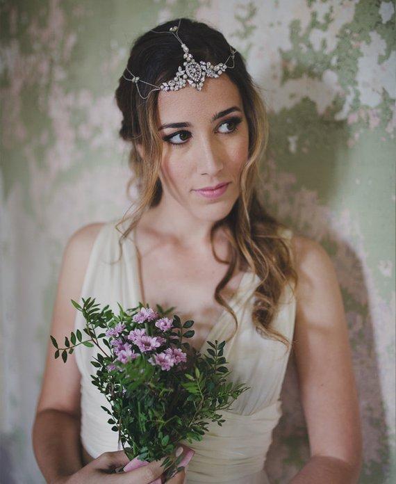 Bohemian hair chain - crystal headpiece - pearl head wrap - boho bride - jeweled  hair chains - weddi 33a4ea06b70