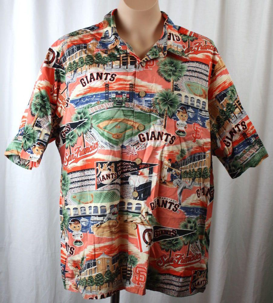 12783c12 Reyn Spooner Mens San Francisco Giants Cotton Hawaiian Shirt Size Large  #sfgiants #ReynSpooner #Hawaiian
