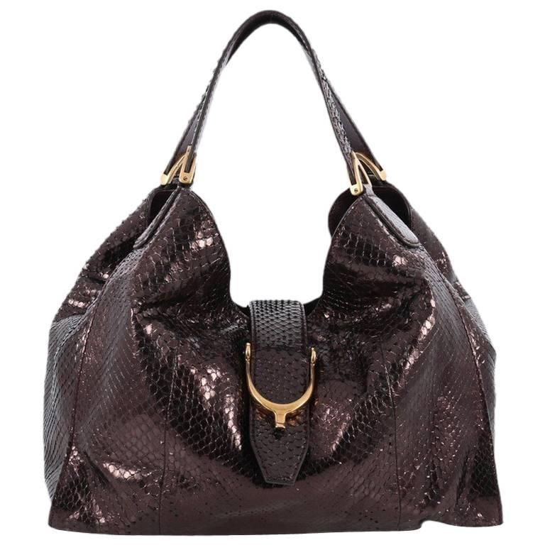 2b82dcf9299892 Gucci Soft Stirrup Tote Python Medium | 1stdibs.com | Vintage bags ...