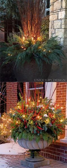 24 Colorful Winter Planters  Christmas Outdoor Decorations Fall