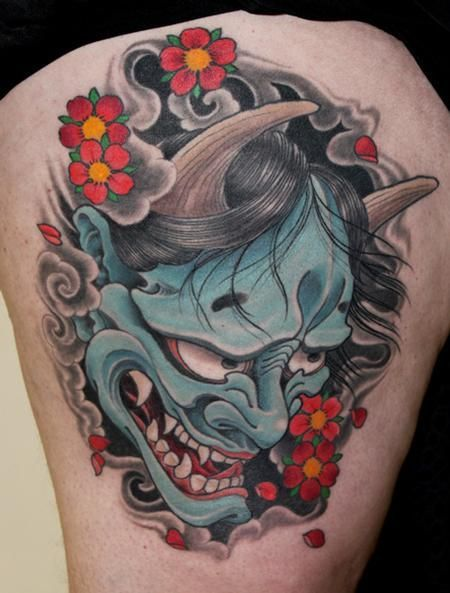 2811bdf43 Japanese Flowers And Hannya Tattoo On Thigh➕More Pins Like This At  FOSTERGINGER @ Pinterest✖️