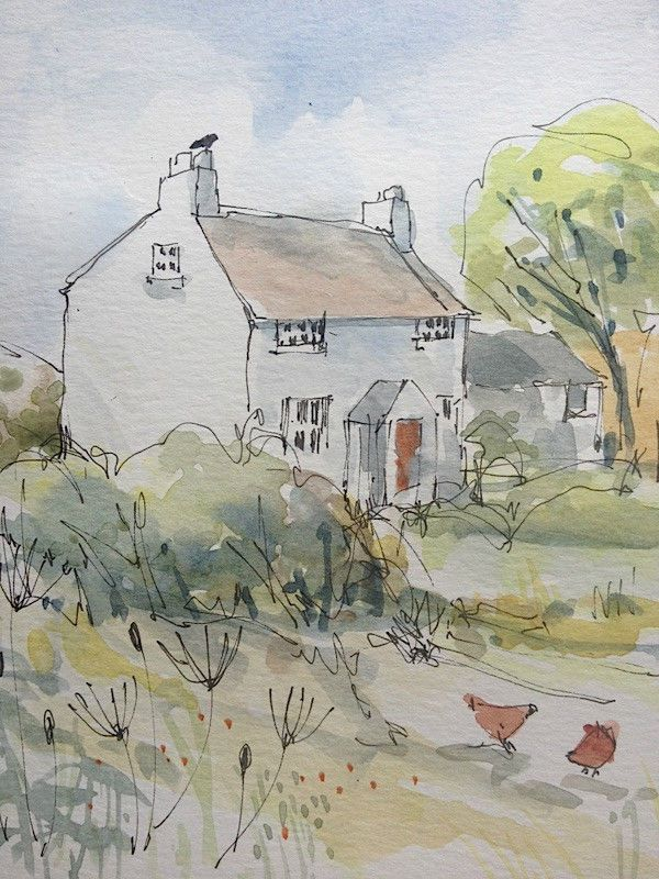 Original Water Colour and ink Painting 'Cottage with Hens'. Signed.