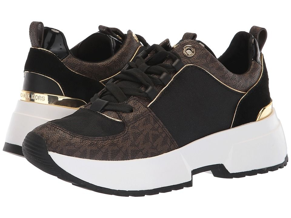 c955b1cb0223 MICHAEL Michael Kors Cosmo Trainer Women s Lace up casual Shoes Brown Black  Tech Canvas Mini MK Logo Semi Lux Sport Suede