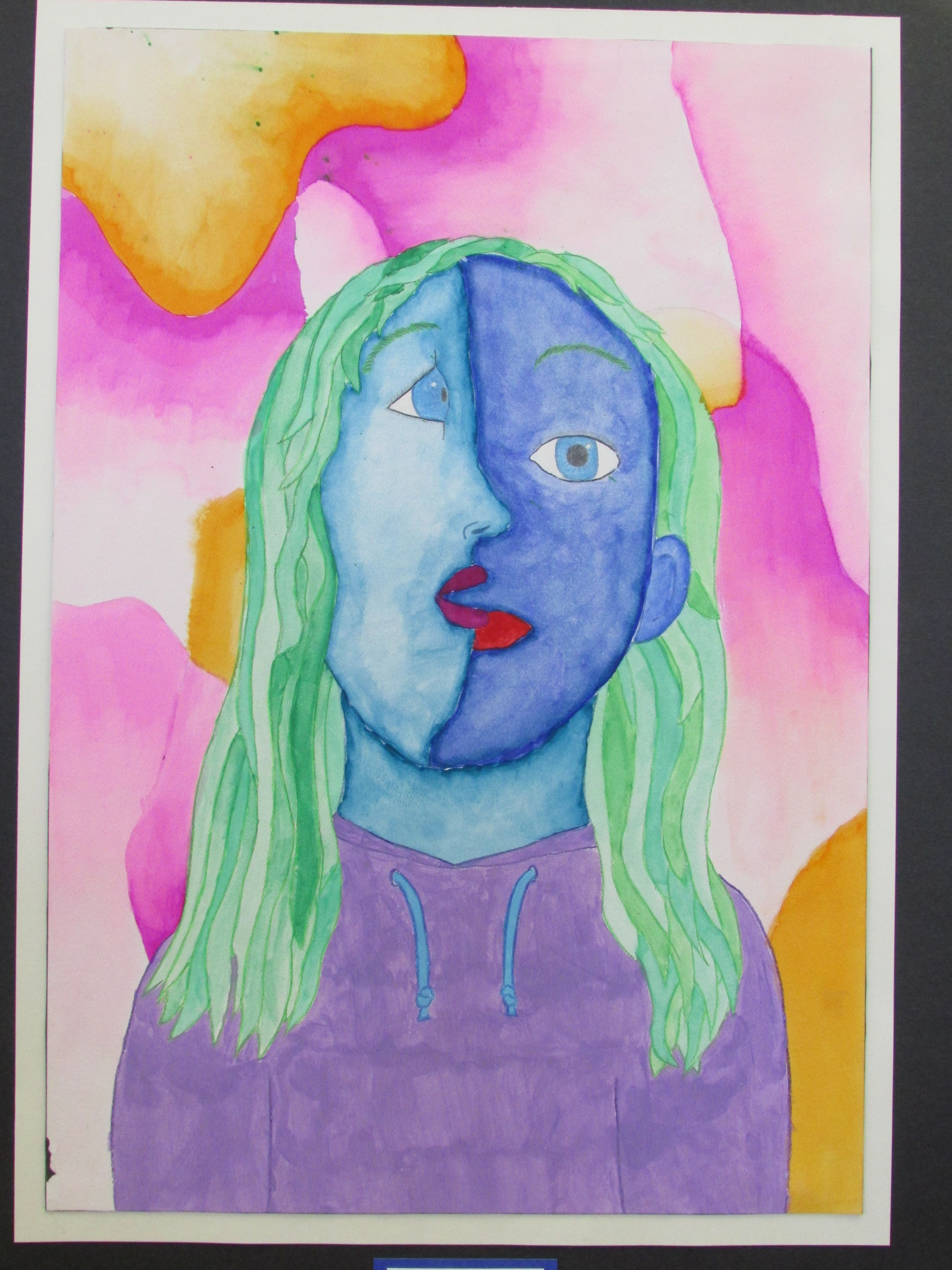 5th Grade Cubist Style Watercolor Self Portrait 15 X 22