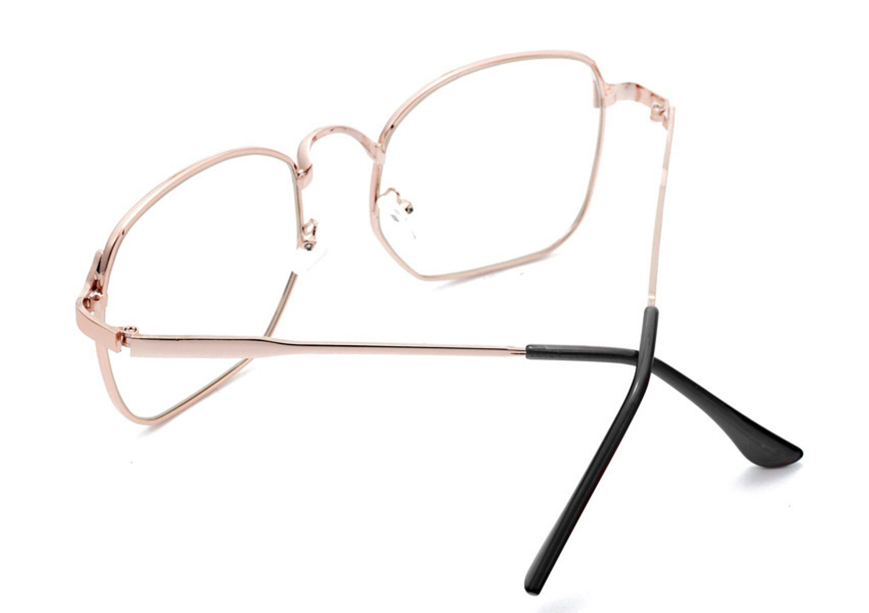 6cbb247b36e Nuni Wire Frame Nerd Bookworm Oversized Square Aviator Eyeglasses rose gold    To view further for this item