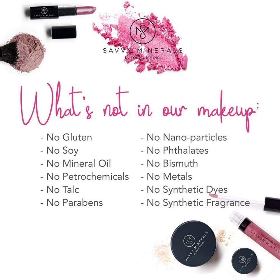 What's NOT in Savvy Minerals Makeup! No gluten, soy, mineral oil