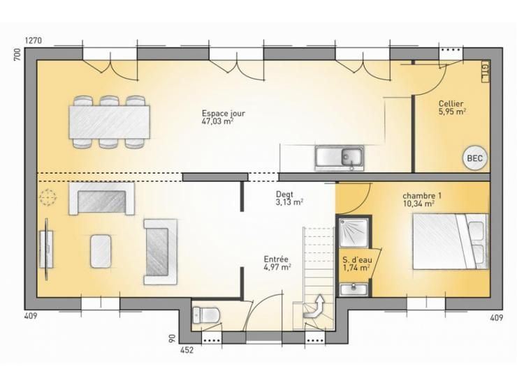 Plans de maison rdc du mod le vexin maison for Plan maison plain pied suite parentale