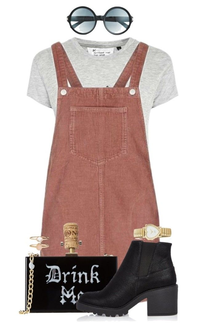 """""""gear up"""" by fantasia-fashion ❤ liked on Polyvore featuring Tee and Cake, Topshop, River Island, Tom Ford, Accessorize, watch, sunglasses, overalls, purse and ankleboot"""
