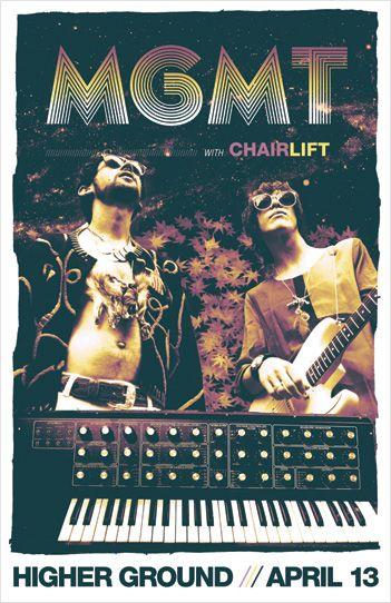 Gig poster for MGMT w/ Chairlift @ Higher Ground, Burlington, VT