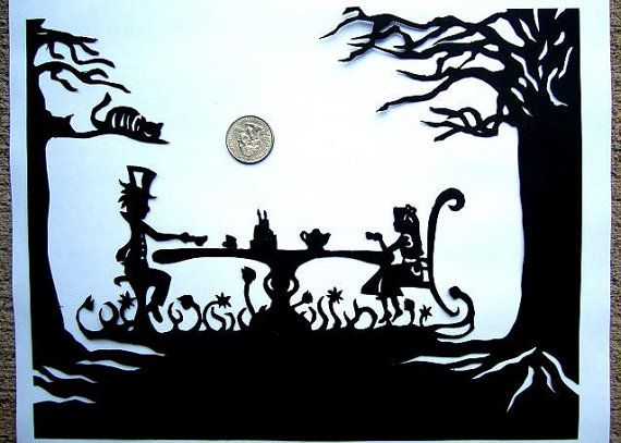 Papercut Silhouette Alice In Wonderland Paper by TheSketchyEasel, $50.00