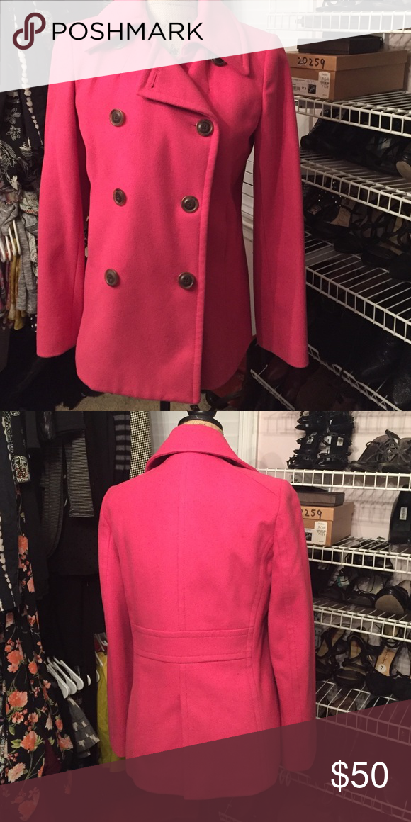 J Crew wool pink Peacoat J crew pink wool Peacoat in great condition size small. Smoke free/ no pets home. Make an offer. Happy Poshing 😃 J. Crew Jackets & Coats Pea Coats
