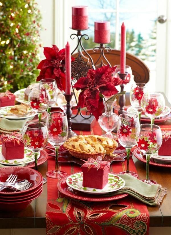 Traditionelle Tischdeko Weihnachtsstern Geschenke Kerzenhalter