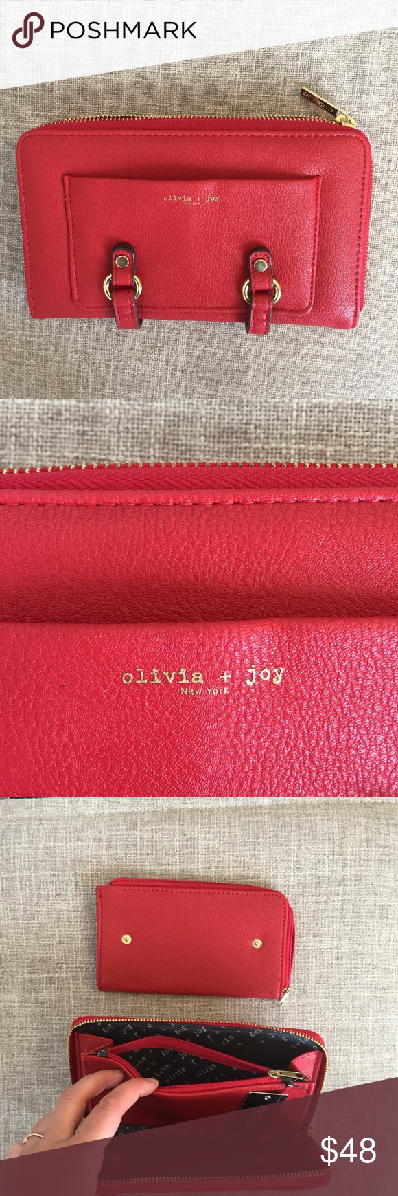 NWT Olivia + joy gladwell collection wallet 2 pc Adorable bright red wallet or clutch. Has snap in removable zip pouch. Lots of pockets and organization. Make an offer! Olivia + Joy Bags Wallets
