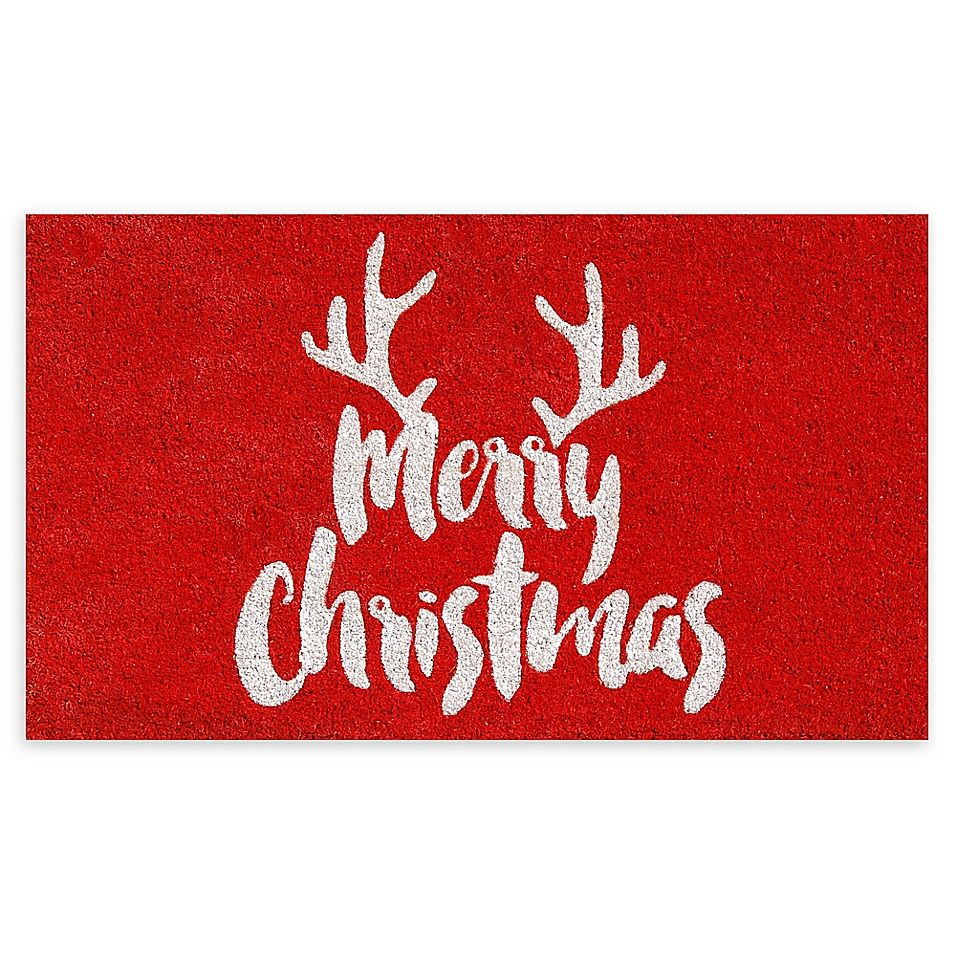Calloway Mills Christmas Antlers 17 X 29 Coir Door Mat In Red