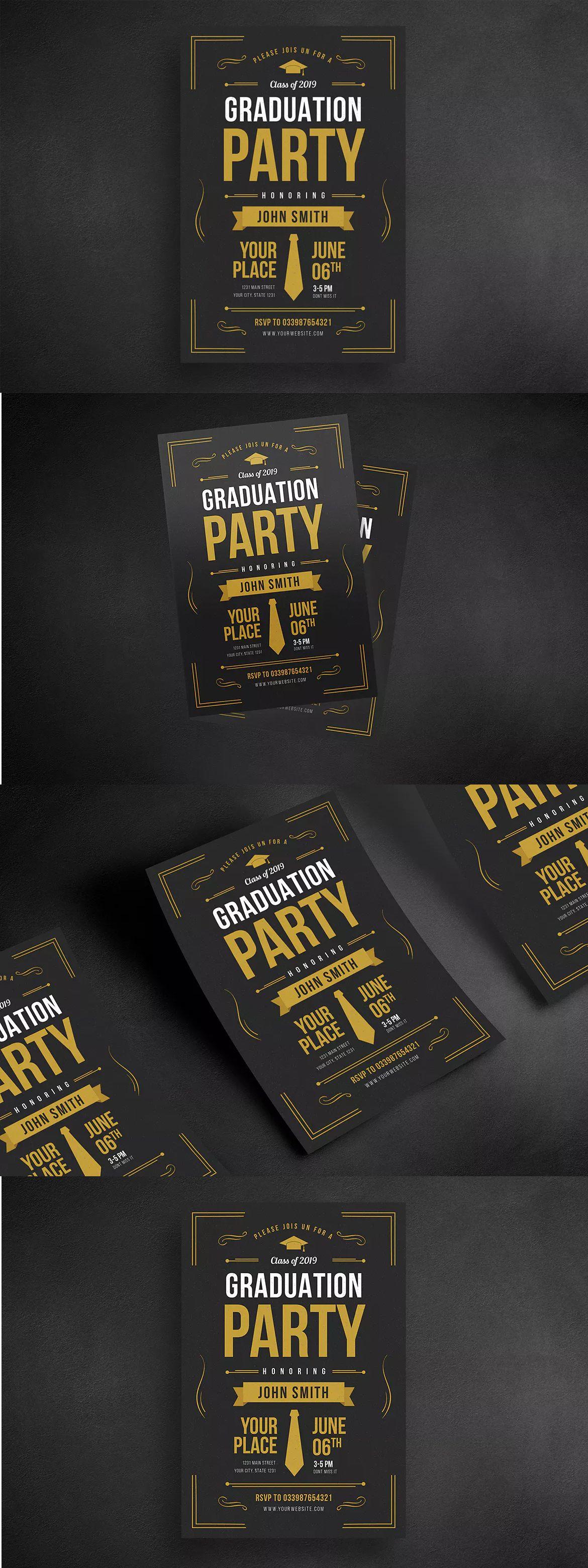 Graduation Party Flyer Template AI, PSD | Flyer Design Templates ...