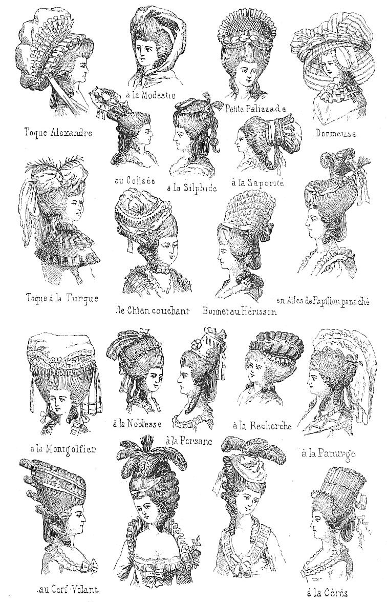 18th century french head wear, each with individual names