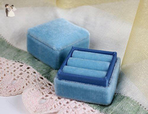Smokey Blue Ring Box for Weddings and Engagements in Vintage Style - Venue and reception decor (*Amazon Partner-Link)