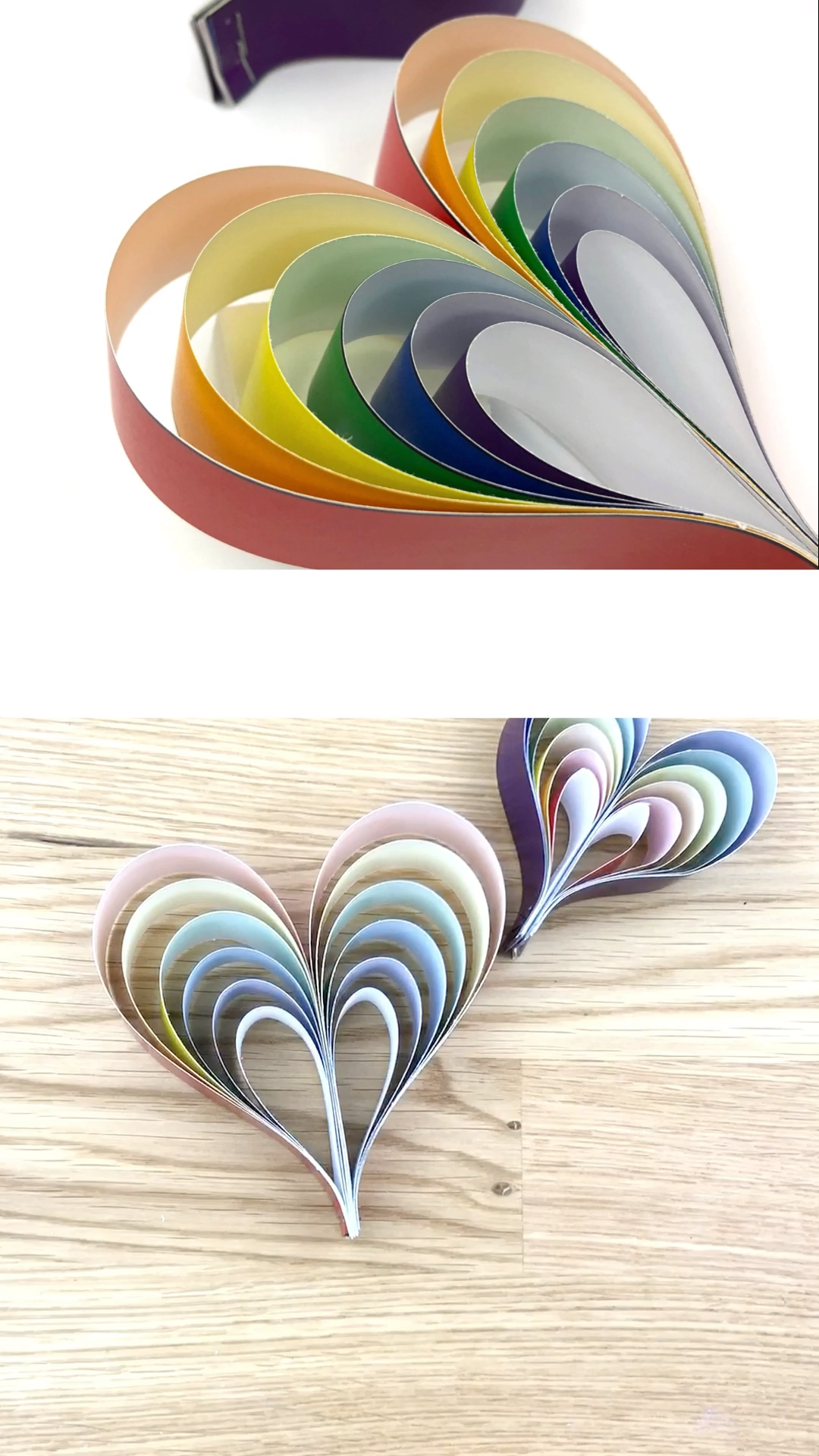 Rainbow Paper Heart Craft Template For Kids Paper Mobile Craft