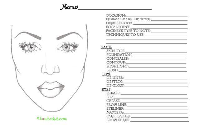 Makeup Face Chart Pdf Blank Mac