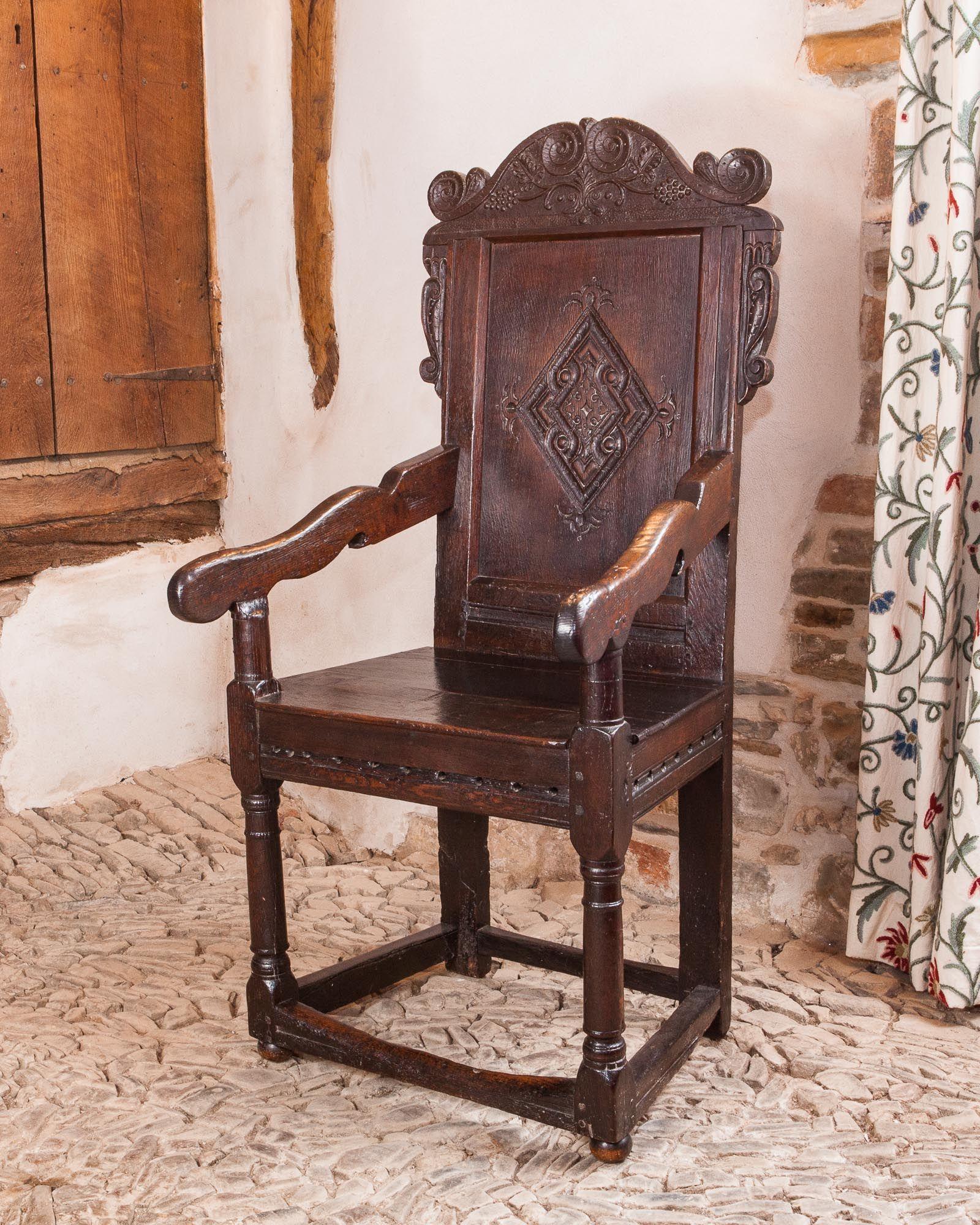 17th Century Yorkshire Joined Oak Armchair, Circa 1650. Marhamchurch  Antiques