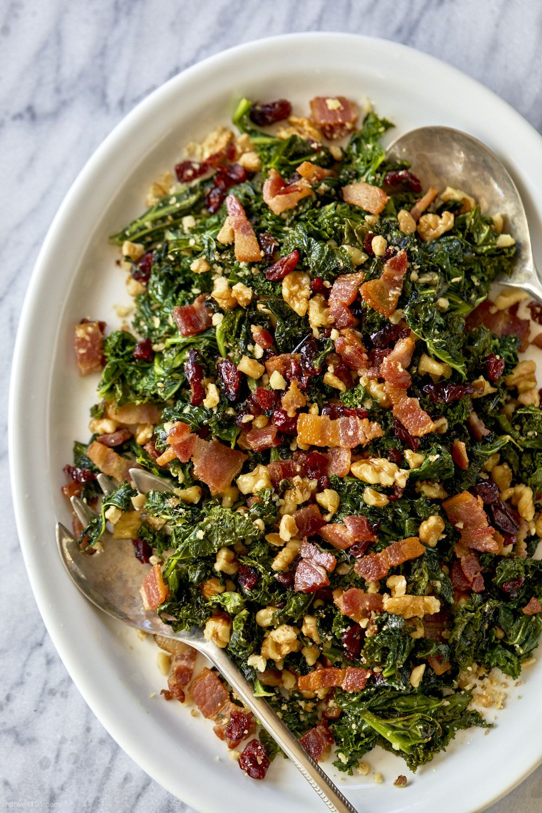Photo of Healthy Sautéed Kale Salad with Bacon, Walnuts and Cranberries