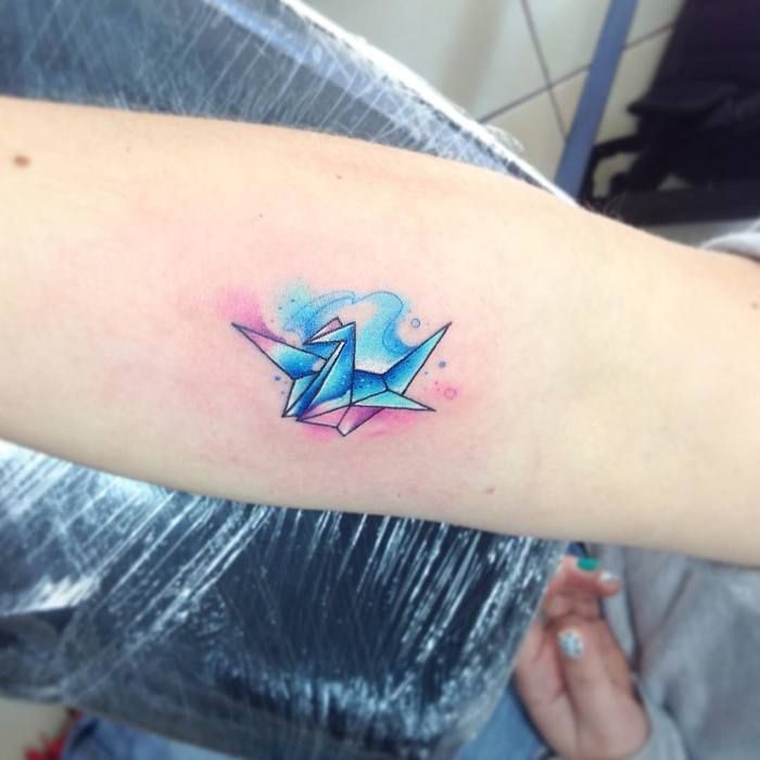 b6dac598e 26 Gorgeous Paper Crane Tattoos and Meanings | Ink | Crane tattoo ...