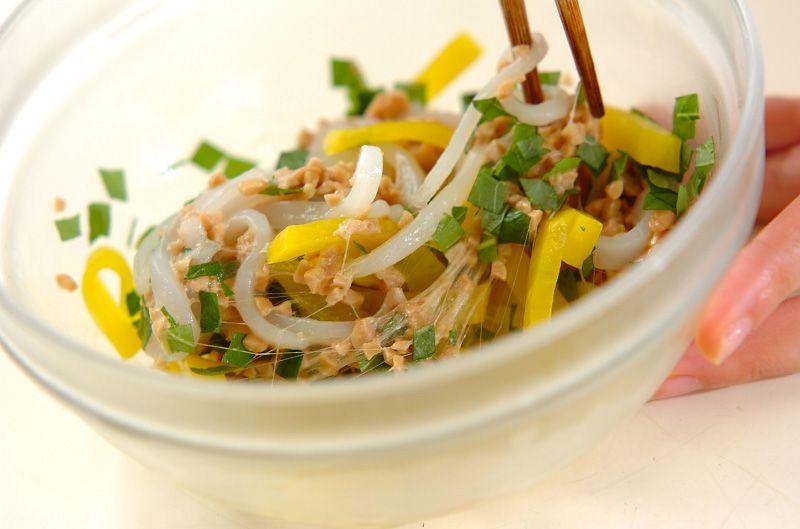 「イカ納豆の軍艦巻き」のレシピ