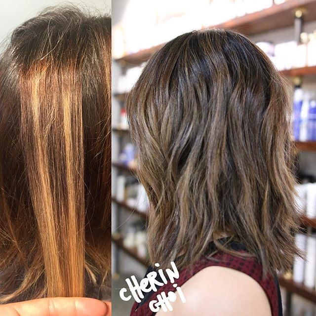 Color correction realness😁before and after #hair #Haircolor #color #ashbrunette #brunette by #mizzchoi cut and style @salsalhair #artsdistrict #dtla