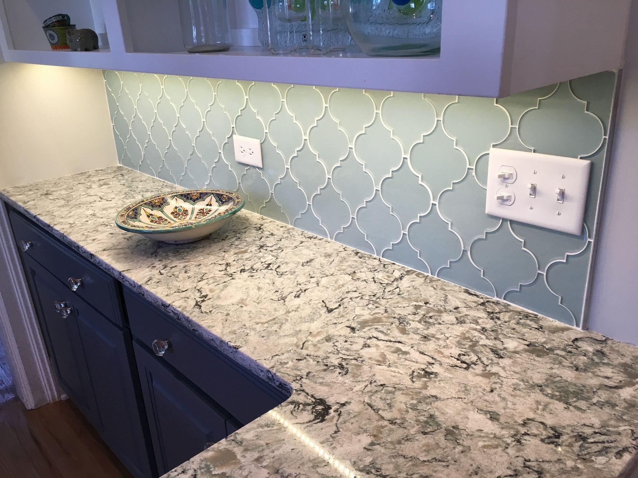 Jasper Blue Gray Arabesque Glass Mosaic Tiles | Kitchen backsplash ...