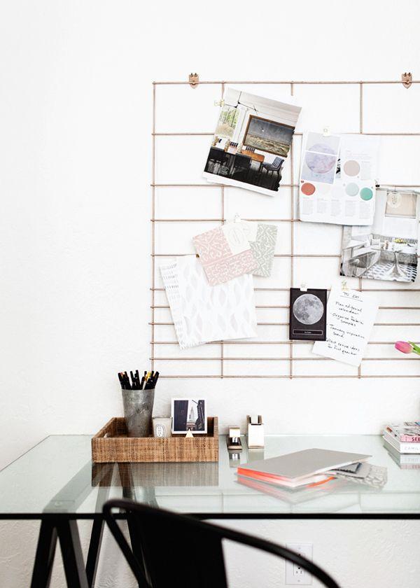 home office wall organizer. DIY :: Copper Office Grid Organization Board - Coco Kelley Home Wall Organizer