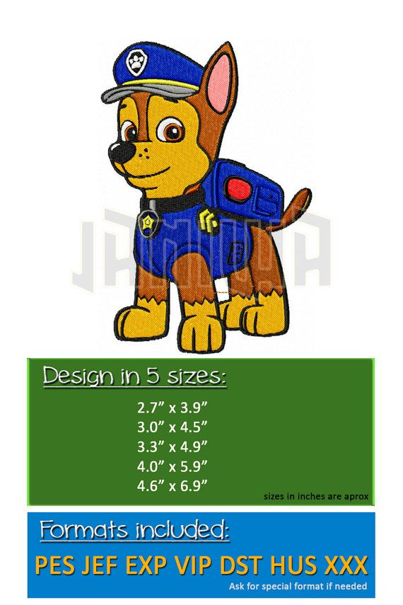 Paw Patrol Chase Puppy Embroidery design 5 Sizes Pes Hus by Janiwa