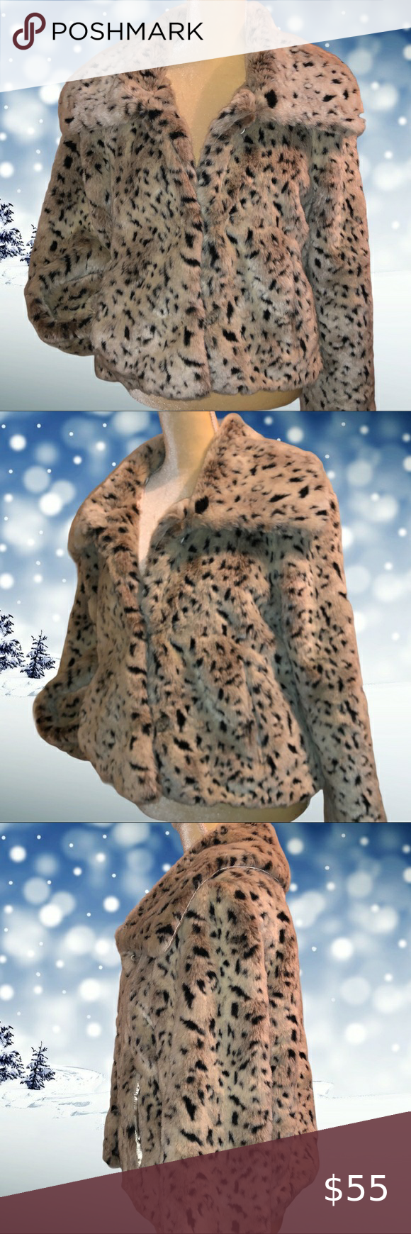 Covington Outerwear Jacket Animal Print Faux Fur Jacket Has Pockets In Front Really Cute Covi Outerwear Jackets Blazer Jackets For Women Coats Jackets Women [ 1740 x 580 Pixel ]