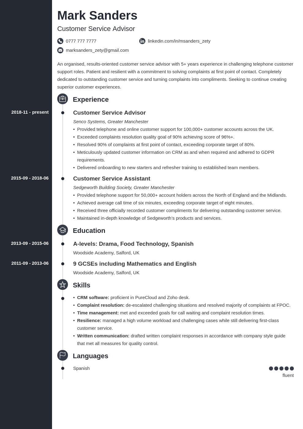 uk customer service cv example template concept in 2020