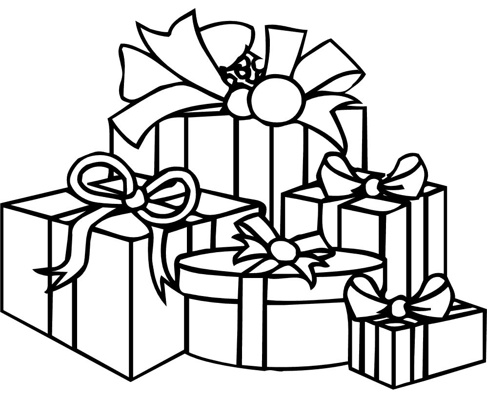 Many Christmas Presents That Decorate With Ribbon Coloring Pages ...