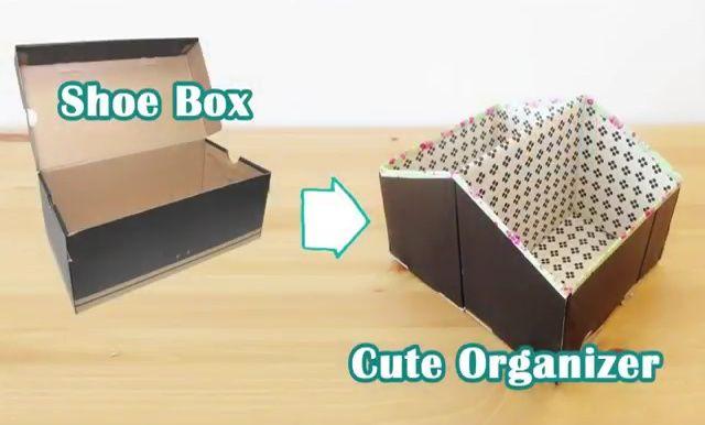 Diy Storage Ideas Recycled Shoe Box Organizer Craft