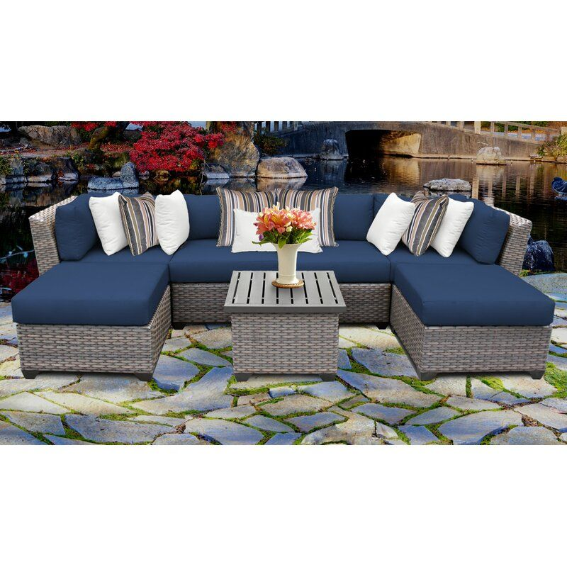 Caden 7 Piece Sectional Seating Group With Cushions In 2020 Wicker Patio Furniture Set Patio Furnishings Outdoor Wicker Patio Furniture
