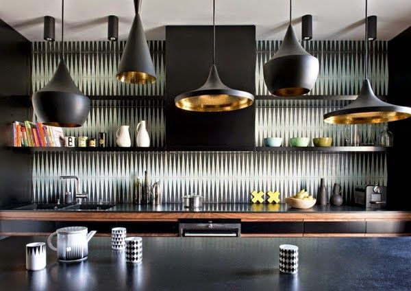 lámparas de techo negras con el interior dorado cocina dormitorios