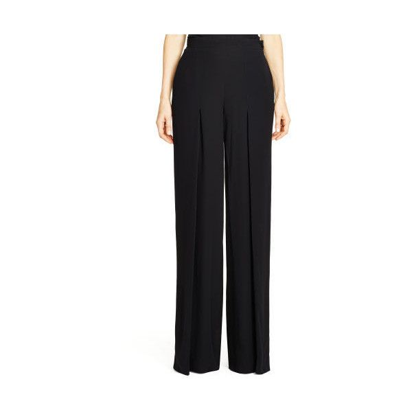Ralph Lauren Black Label Pleated Gwendolyn Pant - Black - Size 10... ($205) ❤ liked on Polyvore