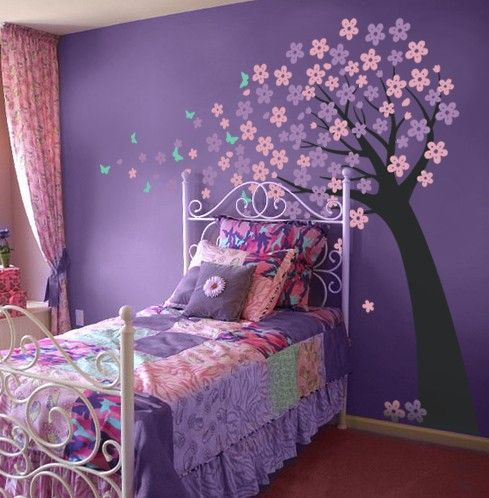 Girls Bedroom Purple cherry blossom tree with butterflies - vinyl wall decals | blossom
