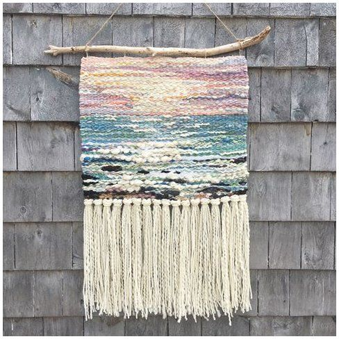 "Login #ocean #tapestry #woven #oceantapestrywoven Summer Ocean (it's returning, I promise) 17"" X 28"" hand woven tapestry. Swipe for details 💕 Organic linen/cotton warp. Weft: mixed natural fibres including wool, alpaca, llama and silk. #novascotia #fibreart #ocean #halifaxart #hygge #surf #sunset #summertime"