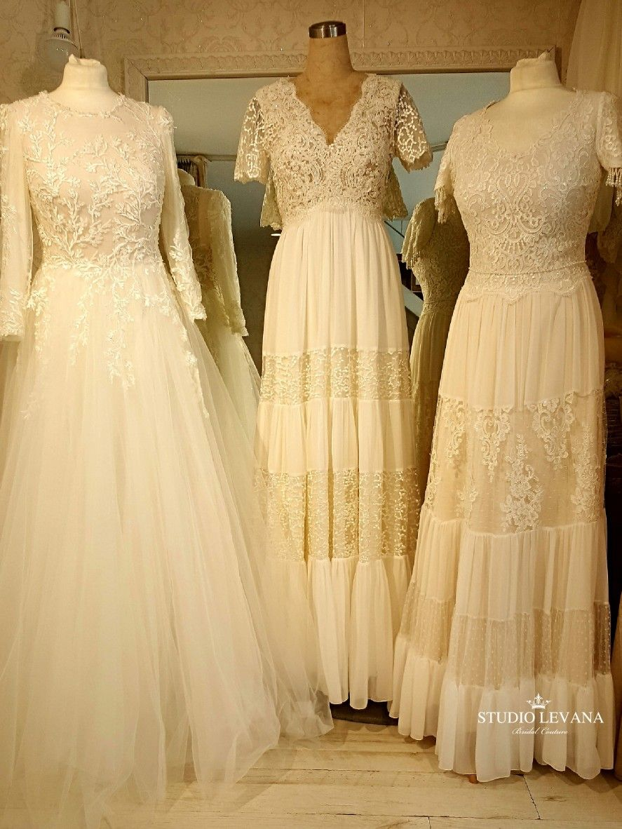 Modest and boho wedding gowns with sleeves from studio levana