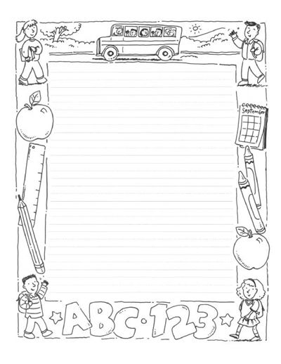 free school themed border paper – School Writing Paper Template