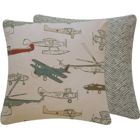 Vintage Airplane Throw Pillow Cover 18x18 Quot Gray World