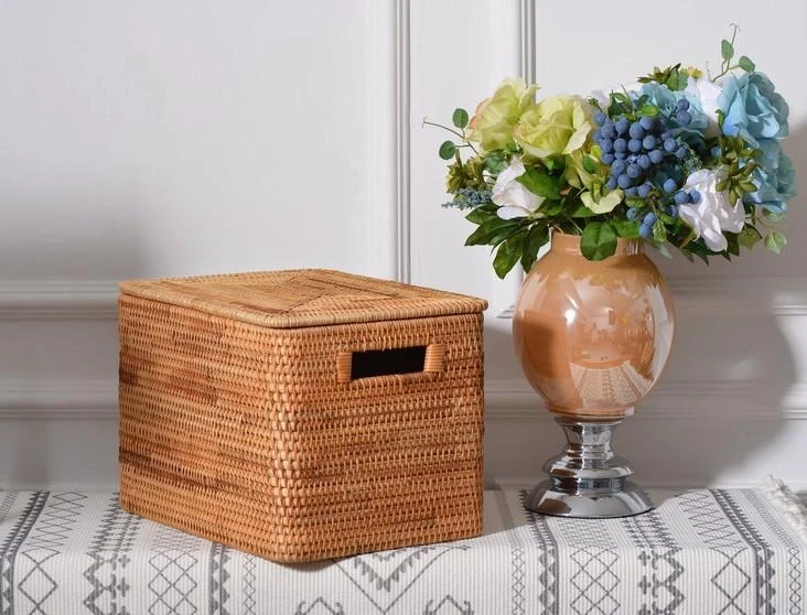 Handmade Rectangular Basket With Lip Rattan Storage Basket For Shelves Storage Baskets For Kitchen And Bedroom Rustic Baskets For Living Room In 2020 Rustic Baskets Rectangular Baskets Storage Baskets #storage #baskets #living #room