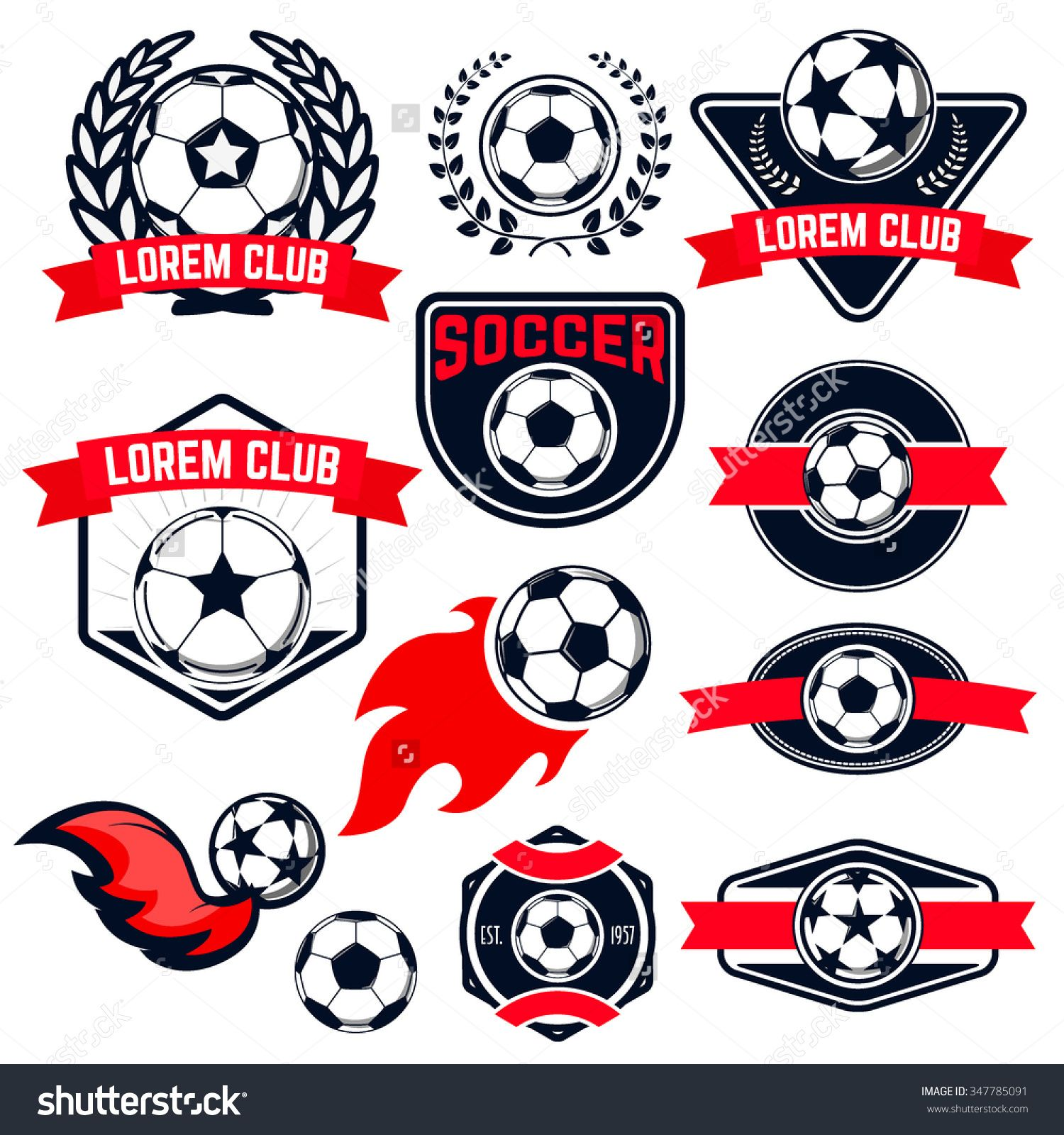 set of soccer logos badges and design elements