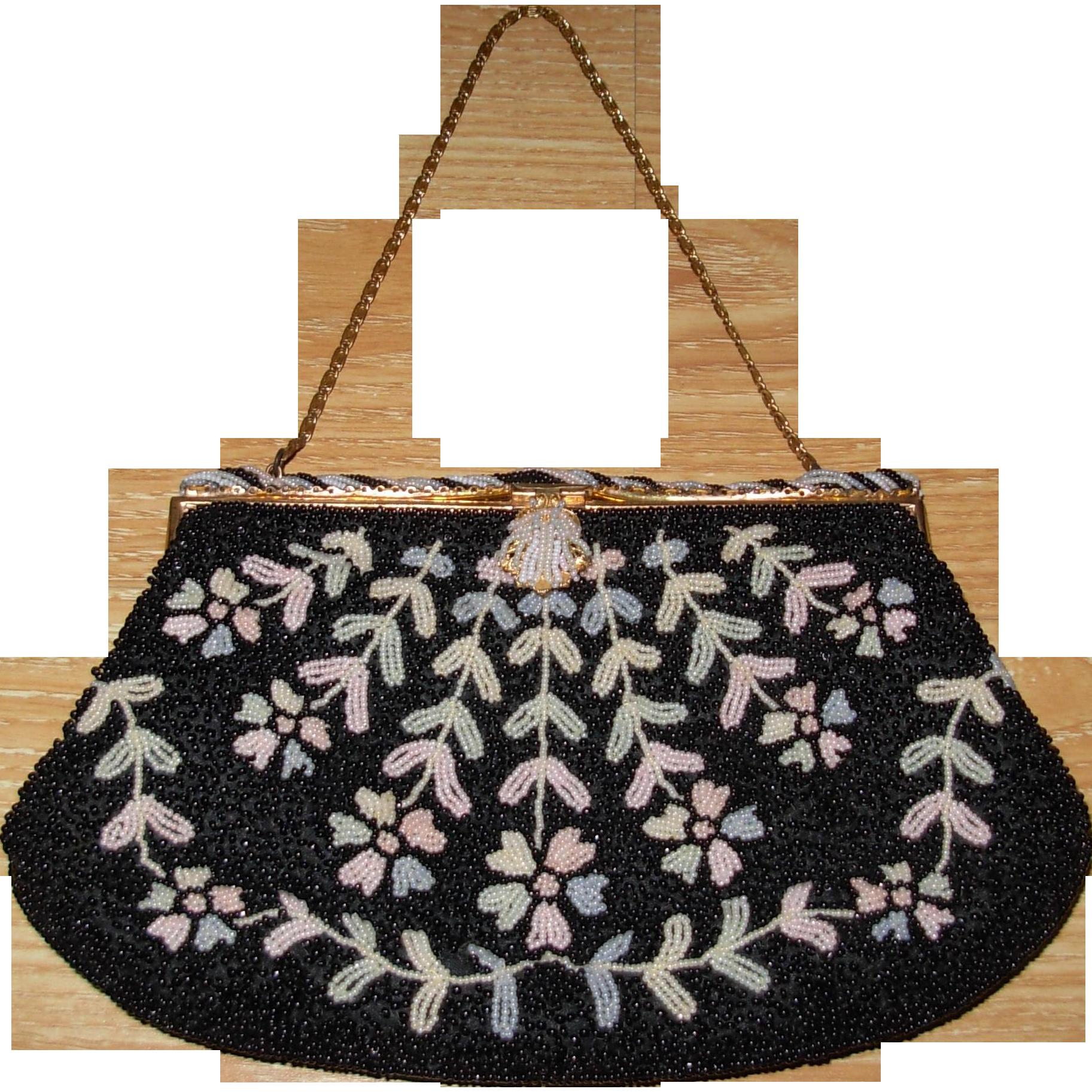 Vintage French Hand Beaded Walborg Handbag Purse