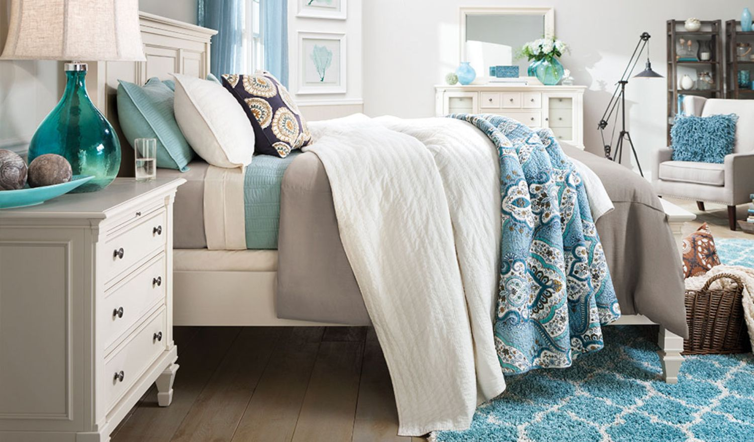 Love this dreamy, coastal bedroom? Tap to see all the Raymour ...