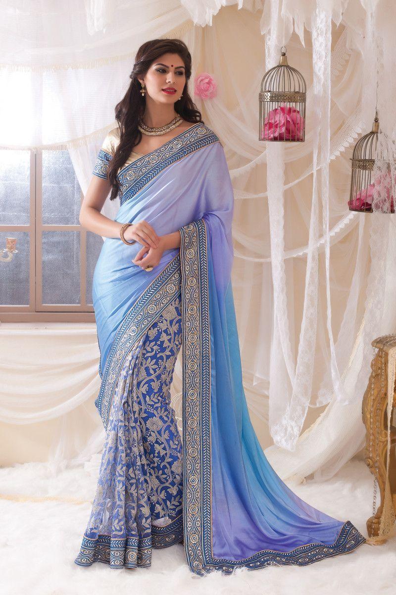 Blue net designer saree variation sarees online shopping india