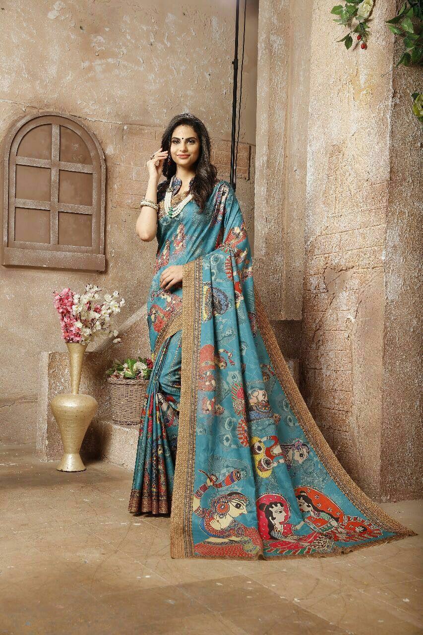 024d4ade43 *Wow Collections* *Pen Kalamkari* *Beautiful Digital Printed Lilen Silk Kalamkari  Sarees With Running Blouse* What's app 9071203560 to place order Ship in ...